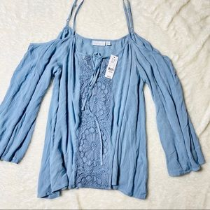 |New York& Company| New Baby Blue Strappy Blouse